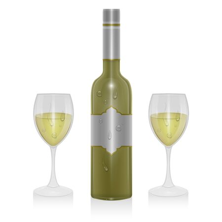 Bottle of light wine and a glass of light wine isolated on white background, illustration in realistic style