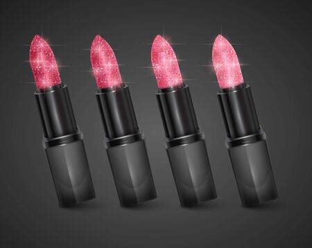 Set of lipsticks of colors from Red to light pink with glittering texture, lipsticks on Dark background. Premium cosmetic product.