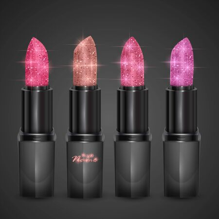 Lipstick set of skin, pink and purple colors, realistic lipstick with glittering texture isolated on dark background, Premium cosmetic product.