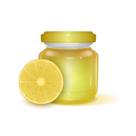 Glass jar with Lemon jam on light background, Label for jam. Mockup for your brand realistic illustration