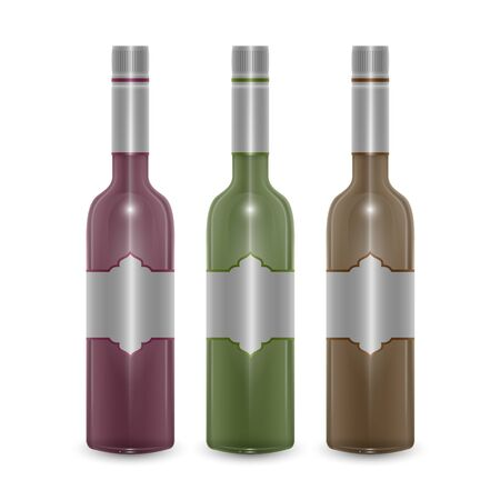 Set of wine bottles in realistic style, Vector EPS 10 illustration on white background Illustration