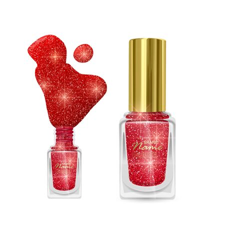 Nail Polish with glittery texture, nail Polish of red color with shiny texture, vector illustration on white background