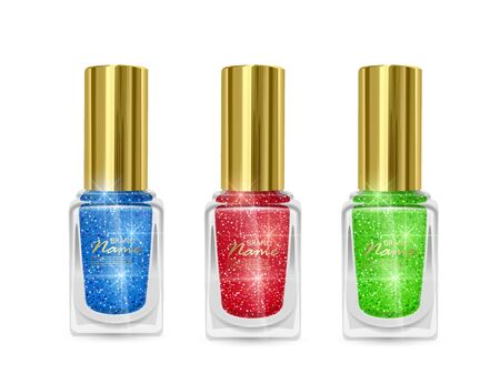 Set of Nail Polishes with glittery texture, nail Polish of red, blue and green colors with shiny texture, illustration on white background 向量圖像