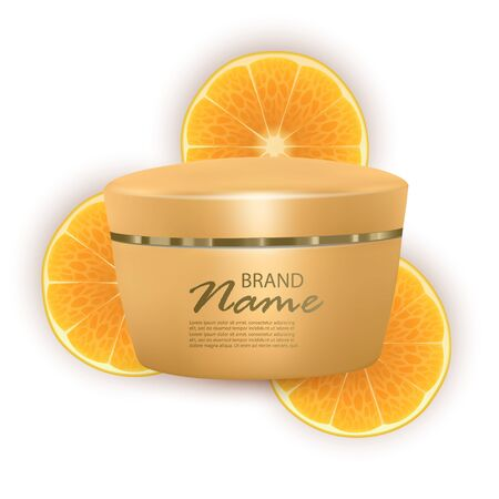 Face cream based on oranges, realistic cream on orange slices background. 3d illustration