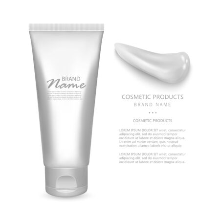 White realistic glossy cosmetic tube isolated on white background, Can be used for medical, gels, cosmetic, creams, shampoo and pastes. 3D bottle, Vector illustration