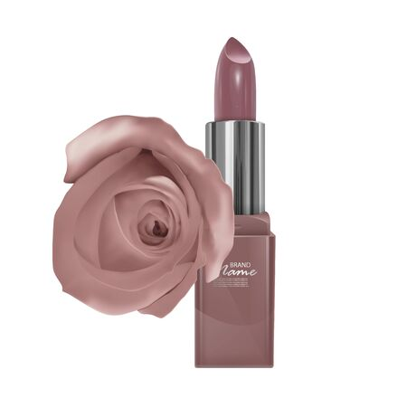 Lipstick of skin color and rose, realistic lipstick isolated on white background, Premium cosmetic product.