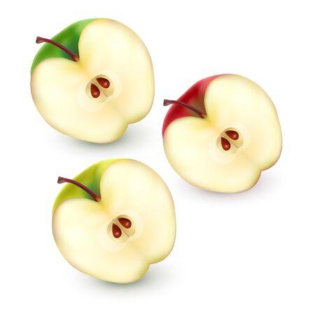 Ensemble de moitiés de pomme sur fond blanc, illustration vectorielle avec des tranches de pomme de couleurs rouges, vertes et jaunes, illustration 3d réaliste