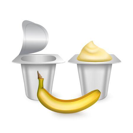 Set of White matte plastic pots for yogurt, cream, dessert or jam. Photorealistic packaging mockup template. yogurt cream with fresh banana isolated on white background.