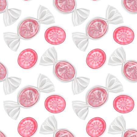 Seamless, endless pattern with realistic sweets, Sweet lollipops round shape on white background. Seamless background, design for your packing for sweets. Vector illustration