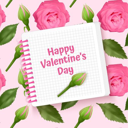 Greeting card Happy Valentine's Day, card with Seamless, endless background with bright pink roses and green leaves. Background for poster or banner.