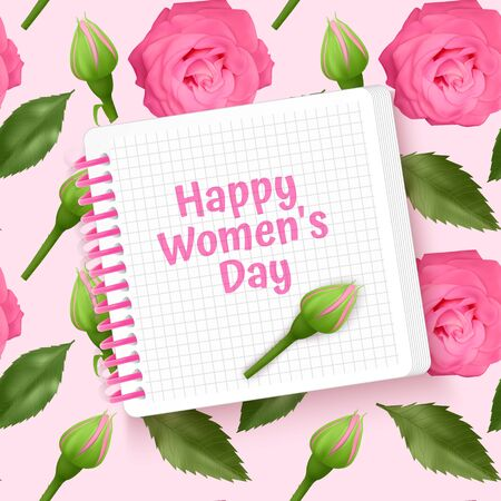 Greeting card Happy Women's Day, card with Seamless, endless background with bright pink roses and green leaves. Background for poster or banner. Иллюстрация