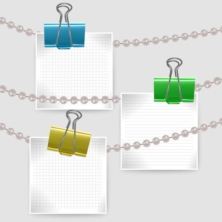 Collection of various white note papers pin with document clips ready for your message. Illustration Isolated on white background. Çizim