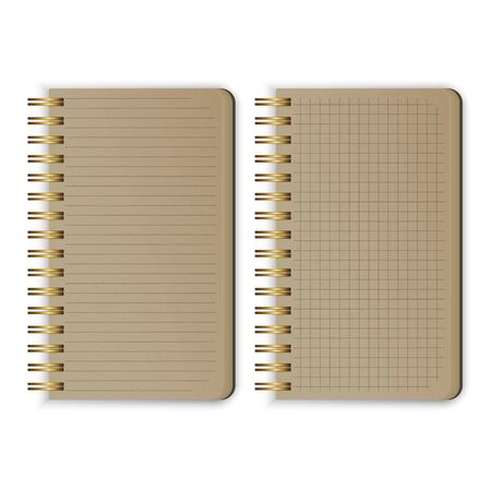 Set of Realistic Old notebooks Blank open padded sketchbook with lines and notebook in the cell for writing message templates, vertical paper sheet. Vector illustration Illustration
