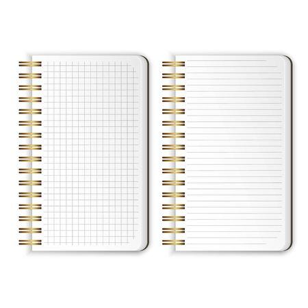 現実的なノートブックのセット 空白は、メッセージテンプレート、学校のノートブック、垂直紙シートを書き込むセルに線とノートブックを含むパッド入りのスケッチブックを開きます。ベクトルの図