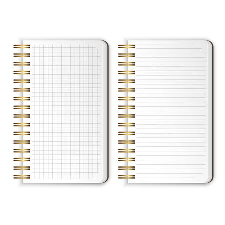 Set of Realistic notebooks Blank open padded sketchbook with lines and notebook in the cell for writing message templates, School notebook, vertical paper sheet. Vector illustration Illustration