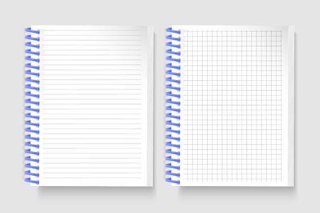 Conjunto de cuadernos realistas Cuaderno de bocetos acolchado abierto en blanco con líneas y cuaderno en la celda para escribir plantillas de mensajes, cuaderno escolar, hoja de papel vertical. Ilustración vectorial
