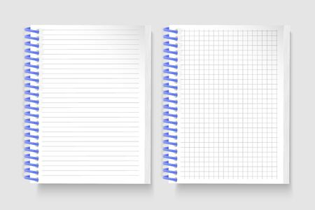 Set of Realistic notebooks Blank open padded sketchbook with lines and notebook in the cell for writing message templates, School notebook, vertical paper sheet. Vector illustration