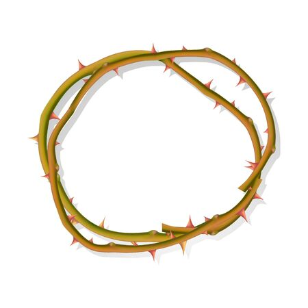 The Round frame from thorns isolated on a white background, frame for your photo or text, vector EPS illustration