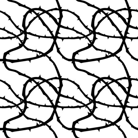 Seamless, endless pattern with thorns, Black thorns on white background, design for your packing. Vektorové ilustrace