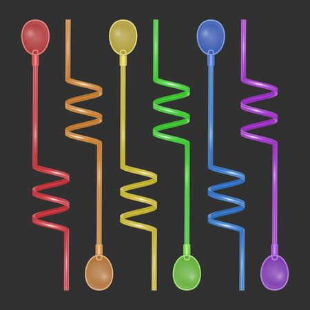 Set of colorful straws for drinks, Cocktail Straws on dark background, Vector illustration