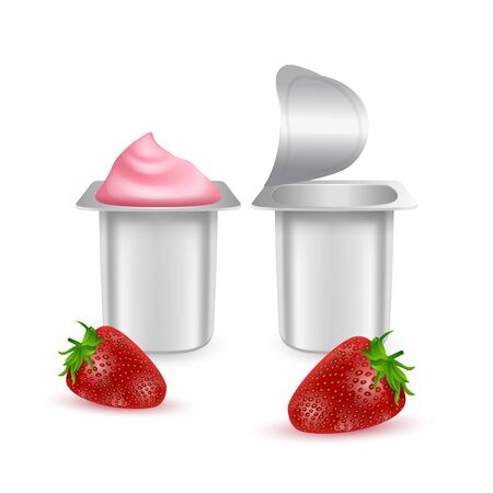 Set of White matte plastic pots for yogurt, cream, dessert or jam. Photorealistic packaging mockup template. yogurt cream with fresh strawberry isolated on white background.