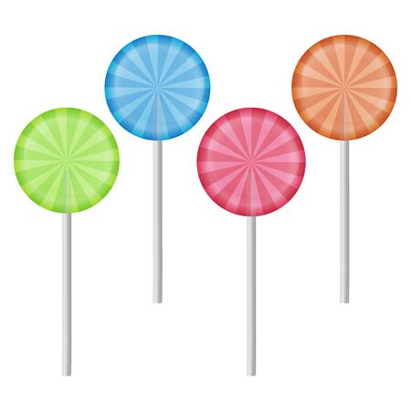 Set of 4 sweet realistic colorful lollipops on white background. Sweet lollipops of round shape.