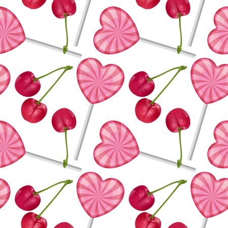 Seamless, endless pattern with sweet realistic colorful lollipops in shape of hearts and red cherry. Seamless background, design for your packing for sweets. Vector illustration
