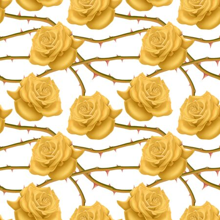 Seamless, endless pattern with roses and thorns, bright yellow roses on white background, design for your packing.