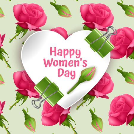 Greeting card Happy Women's Day, card with Seamless, endless background with bright pink roses. Background for poster or banner Иллюстрация