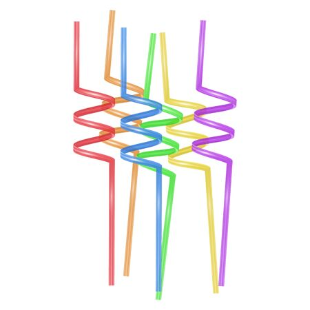 Set of colorful straws for drinks, Cocktail Straws on white background, Vector illustration