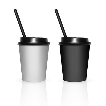 Set of Disposable black and white plastic Cups with a lid. Cup for coffee. Isolated on white background. 3d vector illustration.