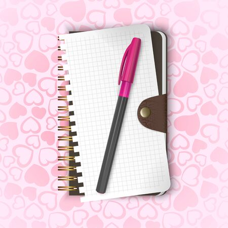 Valentine's day greeting card with pink pen and Notepad on a seamless background with hearts, illustration in realist style