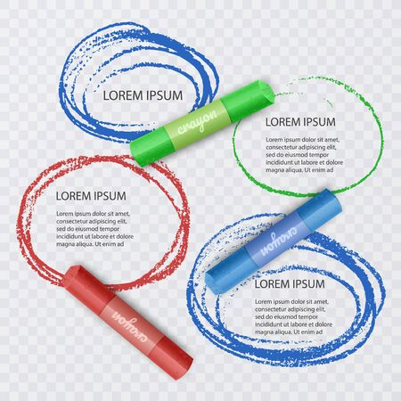 Colorful chalks and speech bubbles on transparent background, infographic illustrations for your project, Vector EPS 10