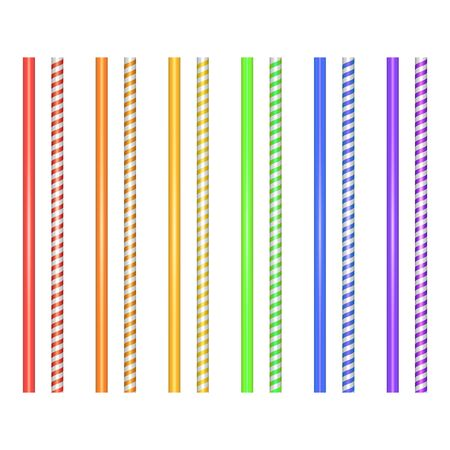 Set of striped straws for cocktails isolated on white background. Straw for beverage, colorful Vector illustration