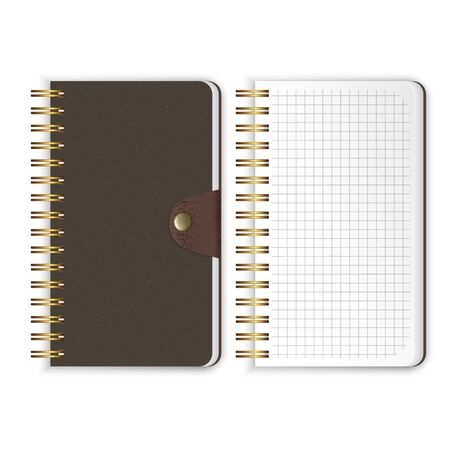 Set of Realistic notebook. Blank open and closed spiral binder notebooks. Template isolated on white background, Vector EPS 10 illustration Ilustração