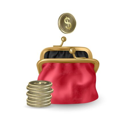 The Red, opened purse. Gold coins raining to open wallet. Golden coins money, dollars dropping or falling in open purse. Realistic Vector illustration Illusztráció