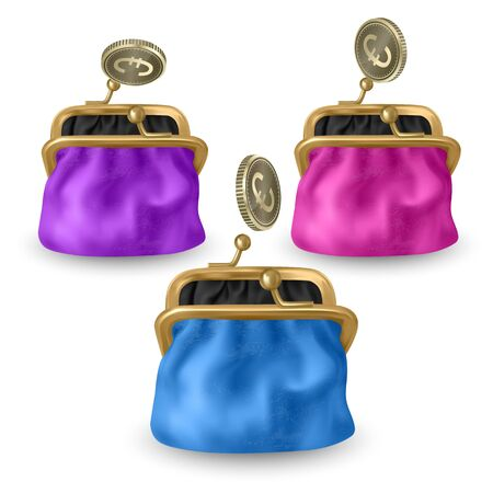 Set of opened purses of pink, blue and purple colors. Gold coins raining to open wallet. Golden coins money, euro dropping or falling in open purse. Realistic Vector EPS 10 illustration