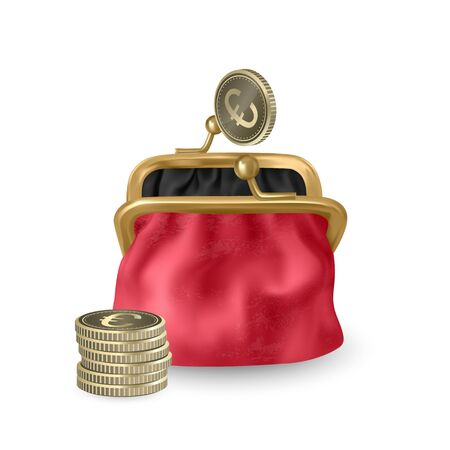The Red, opened purse. Gold coins raining to open wallet. Golden coins money, euros dropping or falling in open purse. Realistic Vector illustration