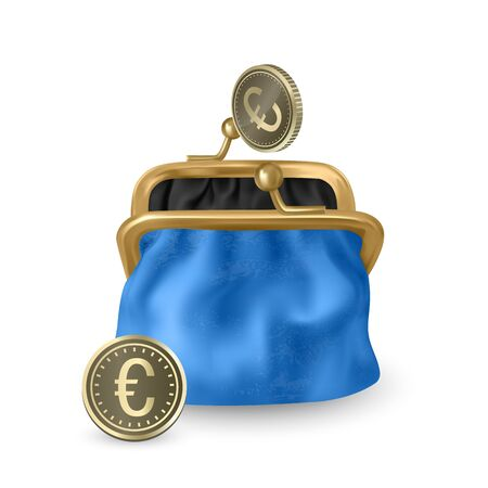 The Blue, opened purse. Gold coins raining to open wallet. Golden coins money, euro dropping or falling in open purse. Realistic Vector illustration