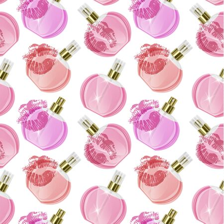 Seamless Endless Pattern with Print of perfume bottles and kiss prints in cartoon style Can be used in food industry for wallpapers, wrapping paper, wedding cards.
