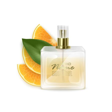 Promo banner of luxury perfume brand. Realistic glass bottle on White background with citrus fruit. 3D, Vector illustration