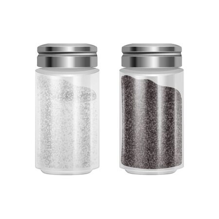 Set of Salt and pepper. Pair of transparent glass shaker with metal cap. Realistic Vector EPS 10 illustration isolated on white background.