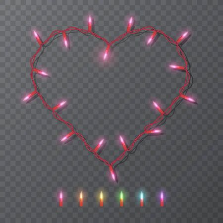 Festive blank frame with shape of heart with electric garland. Garlands colored lights Glowing lights for Valentine's day Holiday greeting card design.