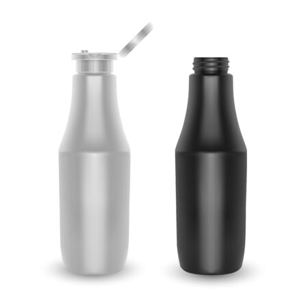 Set of bottles. White and black plastic container for Ketchup or mustard, nutritional supplements. Vector illustration isolated on white background