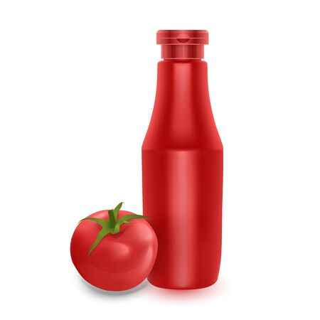The Realistic Plastic Red Tomato Ketchup Bottle for Branding and Fresh Tomato Isolated on White Background, Vector illustration