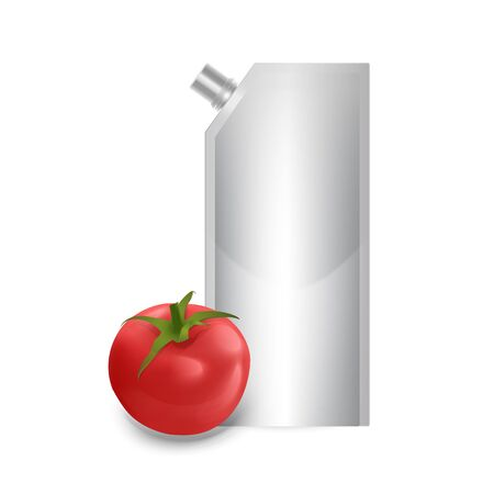 Blank plastic spouted pouch template for puree, ketchup or sauces, Packaging of white color. Vector EPS 10 illustration. Illustration