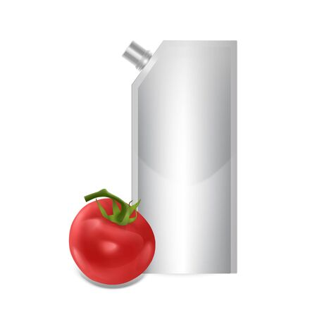 Blank plastic spouted pouch template for puree, ketchup or sauces, Packaging of white color. Vector EPS 10 illustration.  イラスト・ベクター素材