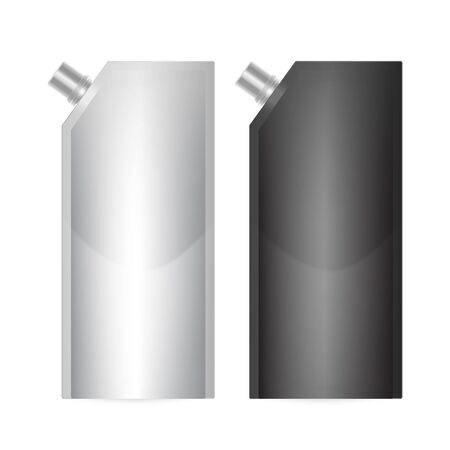 Doy-pack Blank of black and white colors. Clean Doypack Bag Packaging With Corner Spout Lid. Plastic Spouted Pouch Template