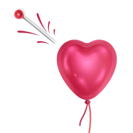 Heart and needle on white background the symbol of love is dead or unrequited love. Vector illustration