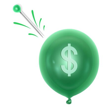 An inflatable balloon with a dollar symbol and a needle. Concept of economy problem or financial crisis, recession, inflation, bankruptcy, income lost, loss of capital. Vector EPS 10 illustration